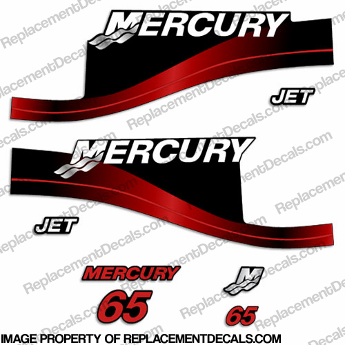 "Mercury 65hp ""Jet Drive"" Two Stroke Decals (Red)"