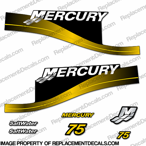 Mercury 75hp Saltwater Series Decal Kit - Yellow