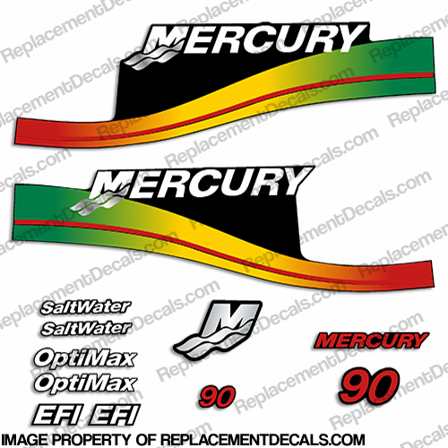 Mercury 90hp Decal Kit - Rasta Colors
