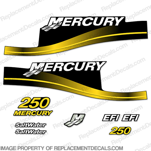 "Mercury 250hp ""EFI"" Salwater Decal Kit - Yellow!"