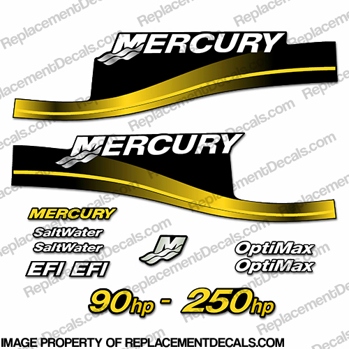 Mercury 90hp - 250hp Decals - Custom Color Yellow