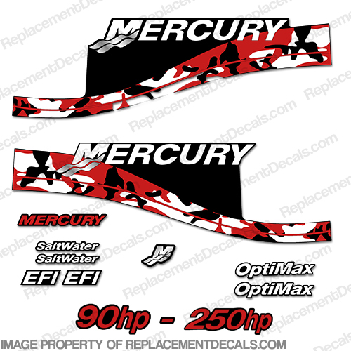 Mercury 90hp - 250hp Decals - Red Camo
