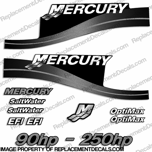 Mercury 90hp - 250hp Decals - Custom Color Silver