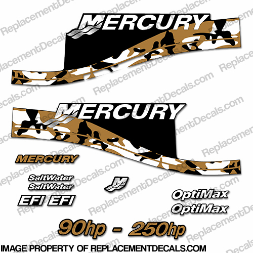 Mercury 90hp - 250hp Decals - Tan Camo