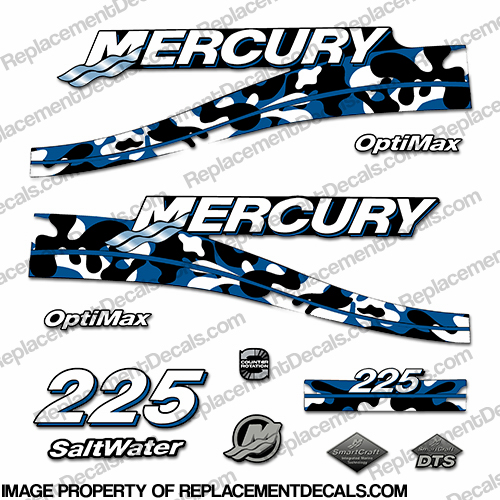 Custom 2005 Mercury 225 Optimax Decals - Blue Camo