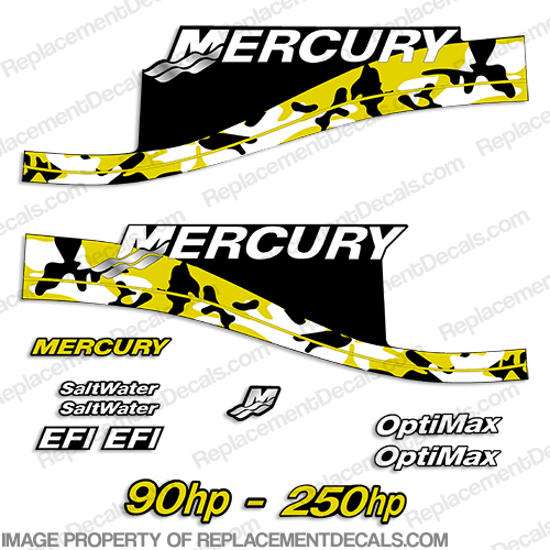 Mercury 90hp - 250hp Decals - Yellow Camo