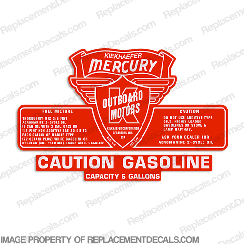 Mercury Kiekhaefer 1953-1956 6 Gallon Gas Tank Decal