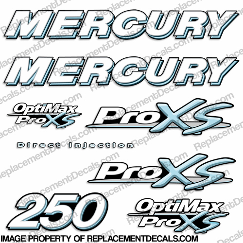 Mercury 250hp ProXS Decal Kit - Powder Blue pro xs, optimax proxs, optimax pro xs, optimax pro-xs, pro-xs, 250 hp