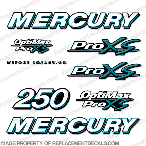 Mercury 250hp ProXS Decal Kit - Teal pro xs, optimax proxs, optimax pro xs, optimax pro-xs, pro-xs, 250 hp