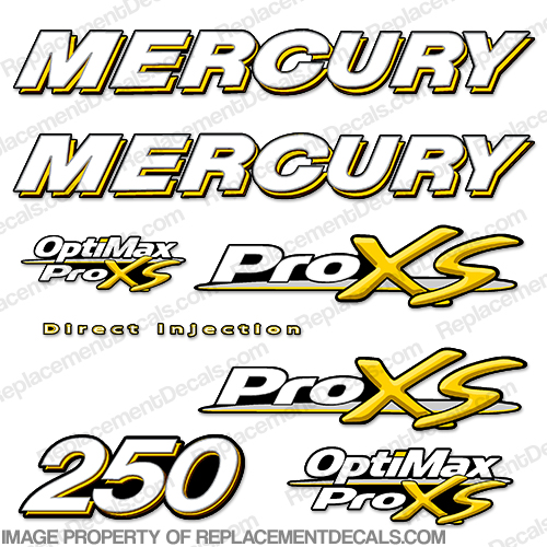 Mercury 250hp ProXS Decal Kit - Yellow pro xs, optimax proxs, optimax pro xs, optimax pro-xs, pro-xs, 250 hp