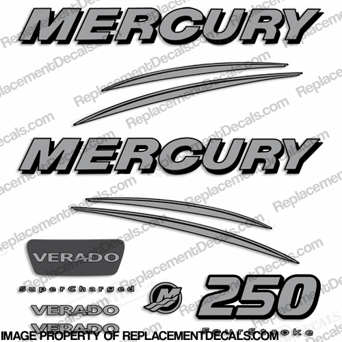Mercury Verado 250hp Decal Kit - Silver
