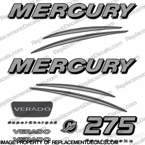 Mercury Verado 275hp Decal Kit - Silver