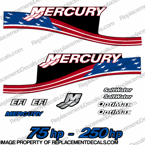 Mercury 75hp - 250hp Decals - Custom Flag