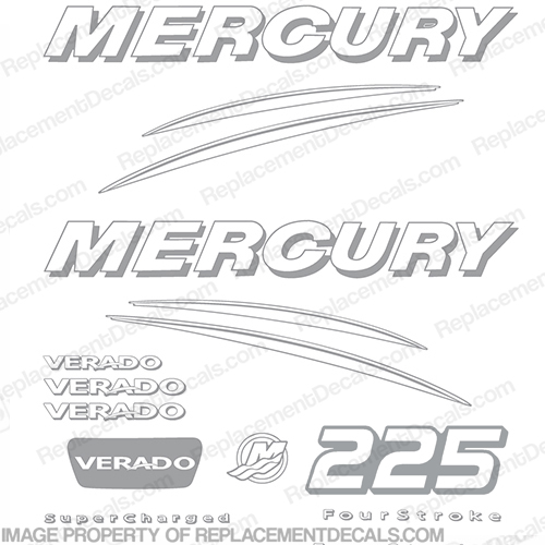 Mercury Verado 225hp Decal Kit - Any Color!  225, 225hp, 225 hp, Verado, Custom