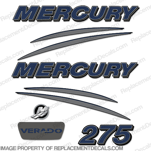 Mercury Verado 275hp Decal Kit - Navy/Charcoal