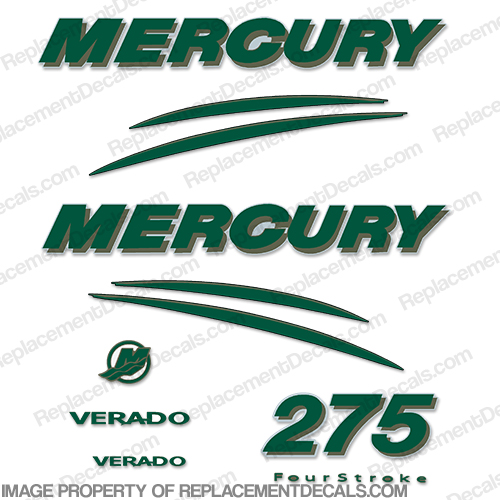 Mercury Verado 275hp Decal Kit - Dark Green/Gold
