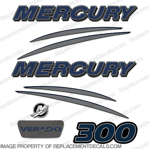 Mercury Verado 300hp Decal Kit - Navy/Charcoal