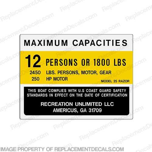 Recreation Unlimited 25 Razor Capacity Decal - 12 Person capacity, plate, sticker, decal
