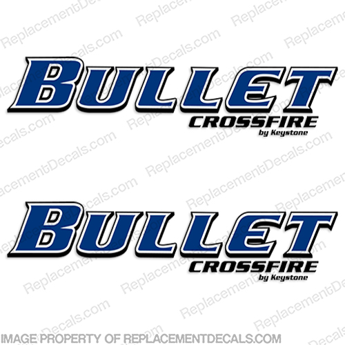 Bullet Crossfire by Keystone RV Decals (Set of 2) cross, fire, cross fire, key, stone, key stone