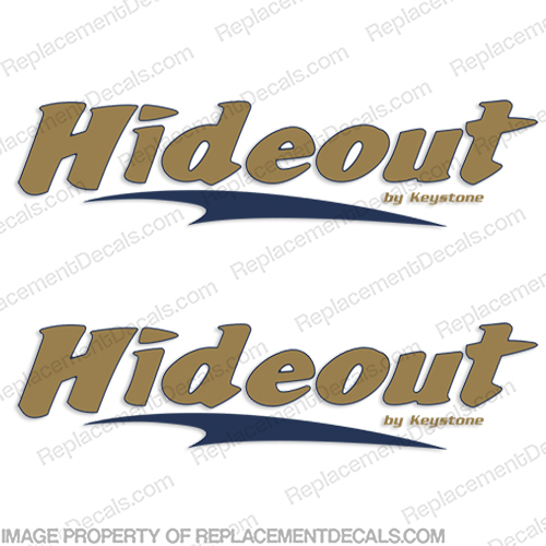 Hideout by Keystone RV Decals Style 2 (Set of 2) hide out, hide-out