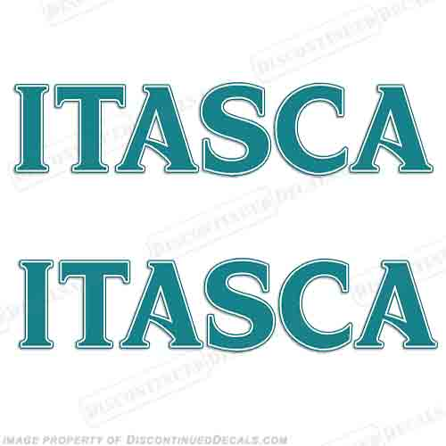 Itasca RV Decals (Set of 2) - Teal rv, motorhome, coach, carriage, fifthwheel, fifth, wheel, caravan, recreational, vehicle, itasca
