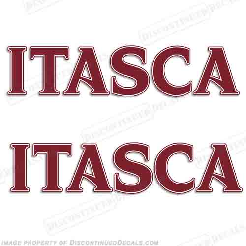 Itasca RV Decals (Set of 2) - Maroon rv, motorhome, coach, carriage, fifthwheel, fifth, wheel, caravan, recreational, vehicle, itasca