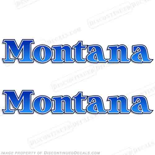 Montana Older Style Logo RV Decals (Set of 2) - Blue
