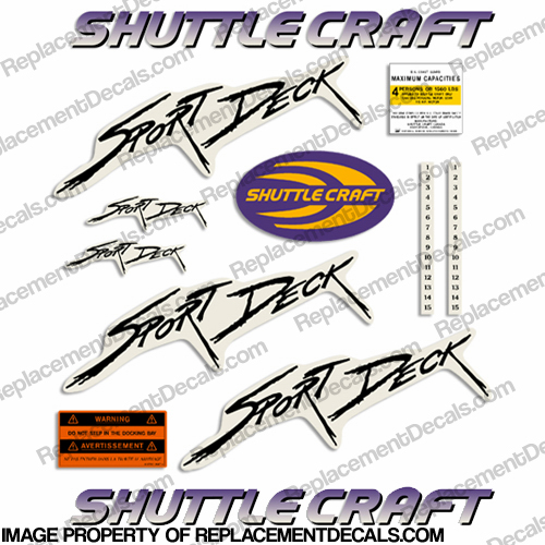 Shuttle Craft Sport Deck Replacement Decal Kit
