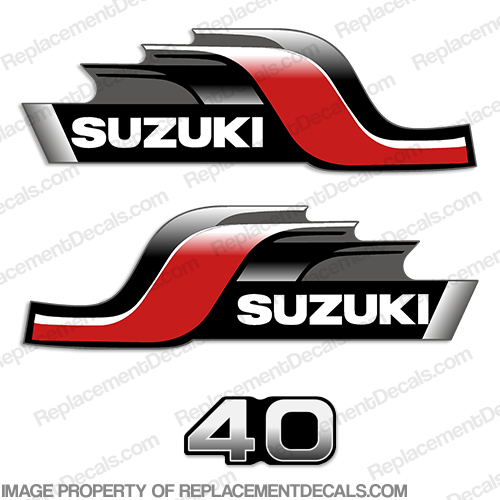 Suzuki 40HP Four Stroke Outboard Engine Decals Sticker Set reproduction 40 HP