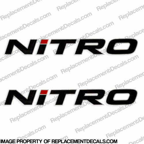 Tracker Marine Nitro Boat Decals - Black w/Silver Outline