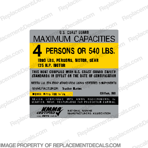 "Boat Capacity Plate Decal - Generic Type B - 4"" Tall by 4"" Wide"
