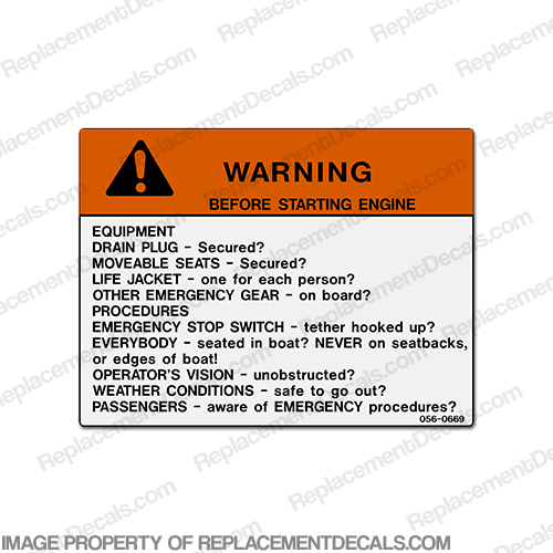 "Warning Decal - ""Before Starting Engine"""
