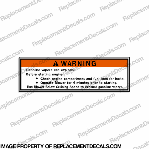 Warning Label Decal MD2-06- Gasoline Vapors can explode... Run Blower...