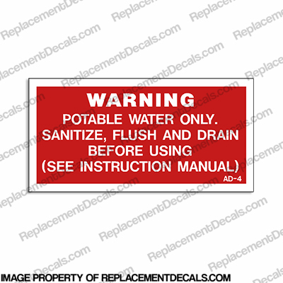 Warning Potable Water Label Decal