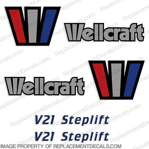 Wellcraft V21 Steplift Decals (Set of 2) - 1993