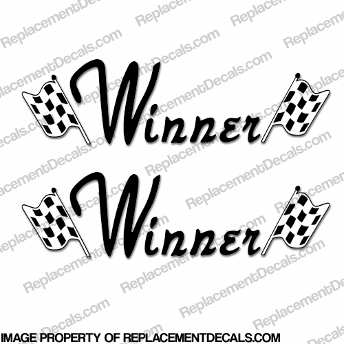 Winner Boat Logo Decals - Style 2 (Set of 2)