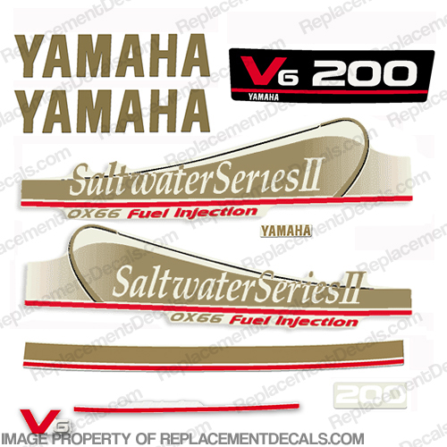 Yamaha 200hp Saltwater Series II OX66 Fuel Injection Decals - Gold