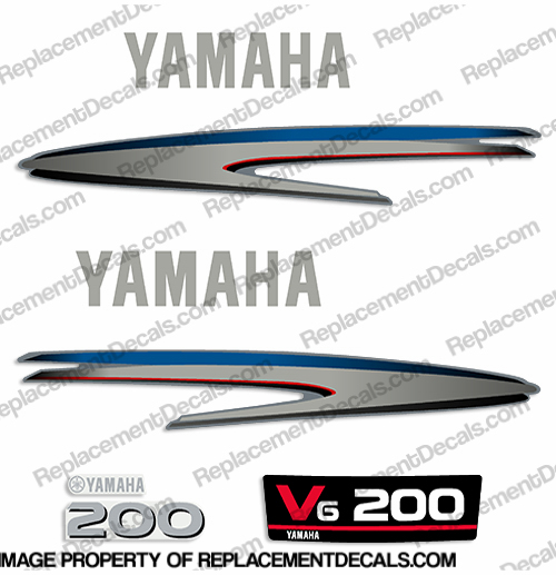 Yamaha 200hp 2-Stroke Decal Kit - 2002 - 2006+ (New Style)