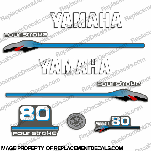 Yamaha 80hp 4-stroke Carbureted Decals 1999 - 2000