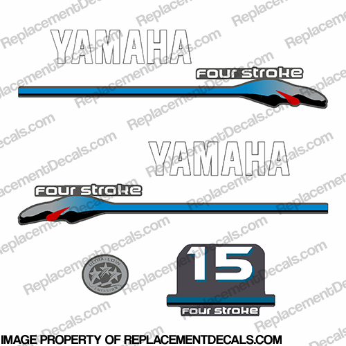 Yamaha 15hp Fourstroke Decals - 2000 Style