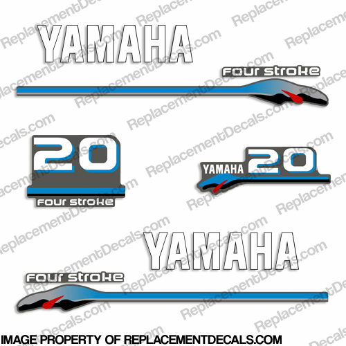 Yamaha 20hp Fourstroke Decals - 2000 Style