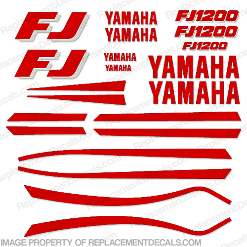1989-1990 Yamaha FJ1200 Motorcycle Decals (Red/White) red, white, 1200, fj,