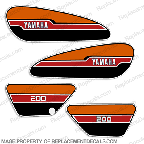 Yamaha 1976 RD200 Decal Kit - Red