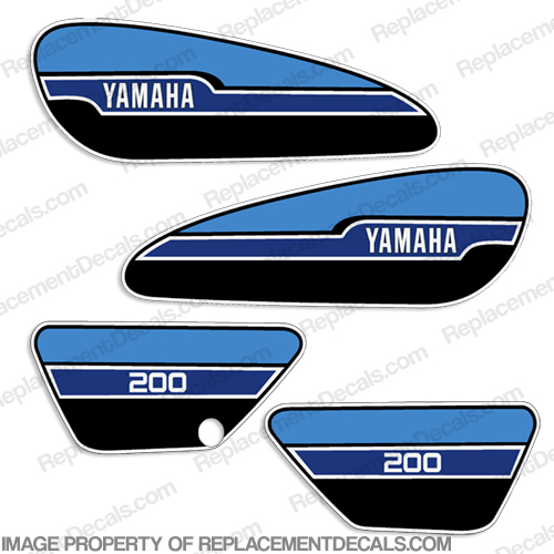 Yamaha 1976 RD200 Decal Kit - French Blue
