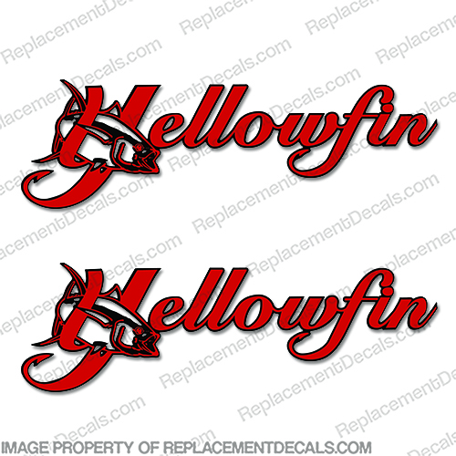Yellowfin Boat Logo Decal 2-Color (set of 2) old, new, logo, boat, manufacturer, name, yellow, fin, yellow fin, yellow-fin
